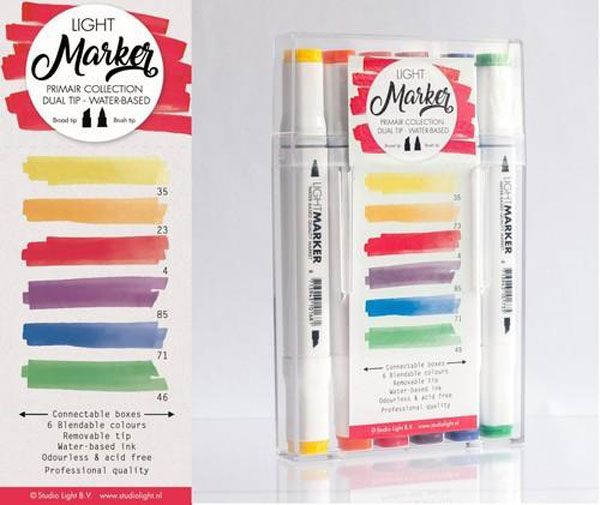 Primair - Box 6 water based dual tip markers bright