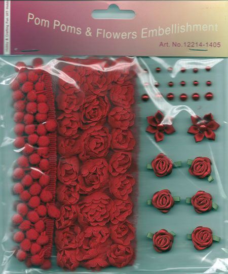 Pom Poms & Flowers Embellishment - Red
