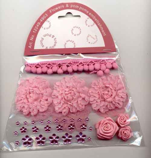 Pom Poms & Flowers Embellishment Set - Pink