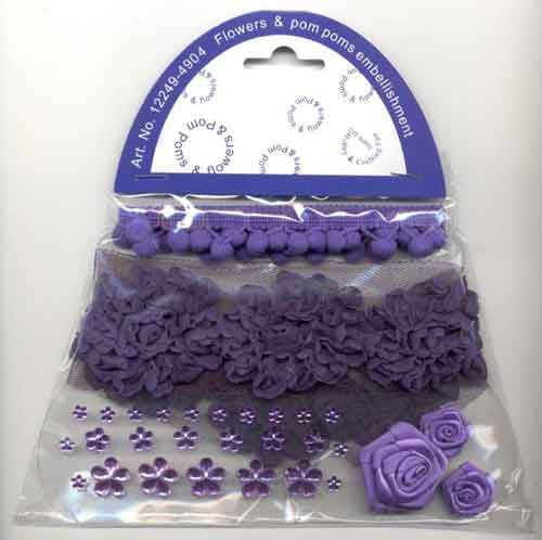 Pom Poms & Flowers Embellishment Set - Purple