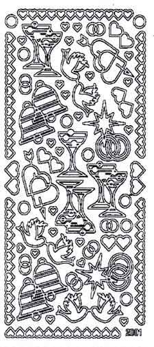 Christmas Illustrations Peel-Off Sticker Sheet - Silver