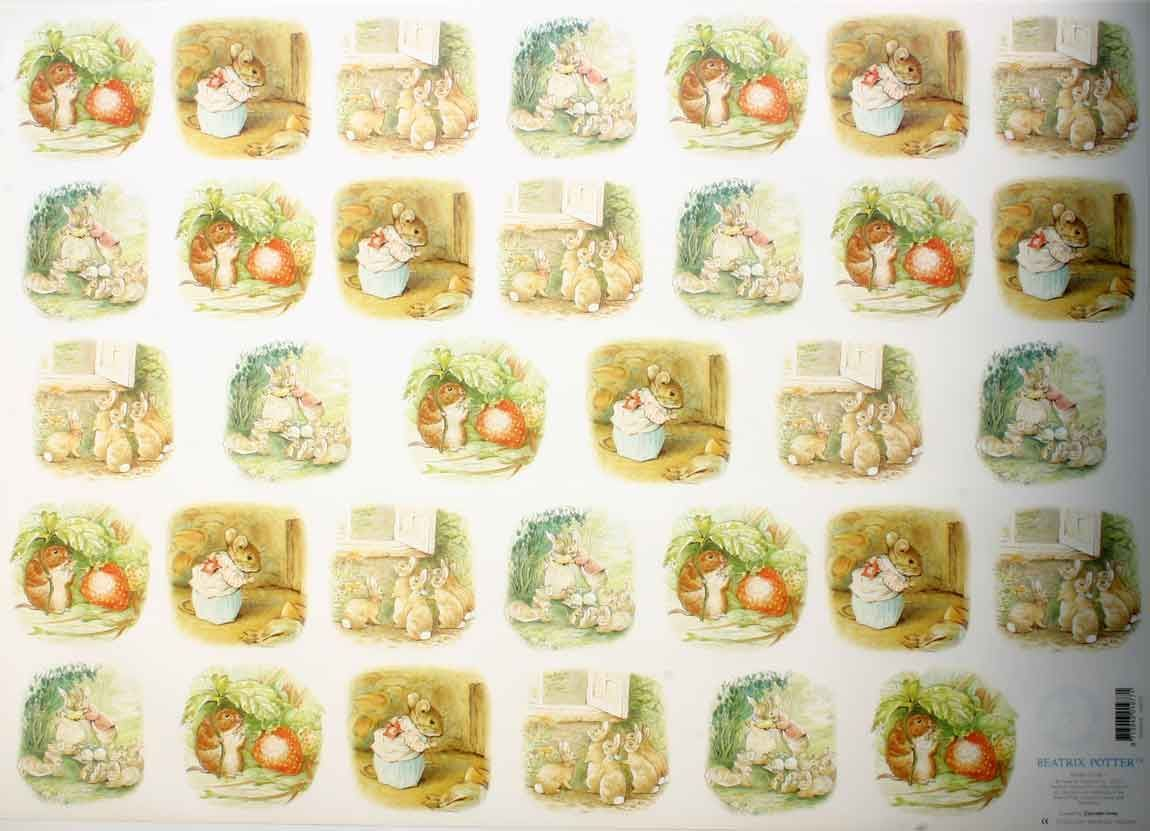 Beatrix Potter Strawberry- 3D Decoupage Sheet