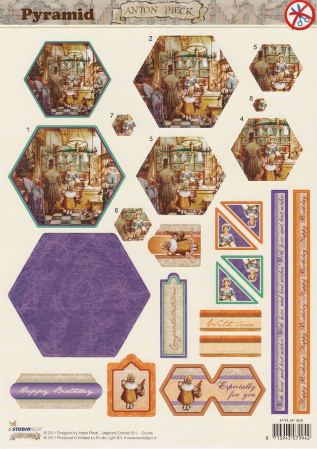 Anton Pieck - Pyramid - 3DA4 Step by Step Die-cut sheet
