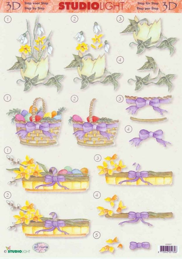 Spring Flowers - 3DA4 Step by Step Decoupage Sheet