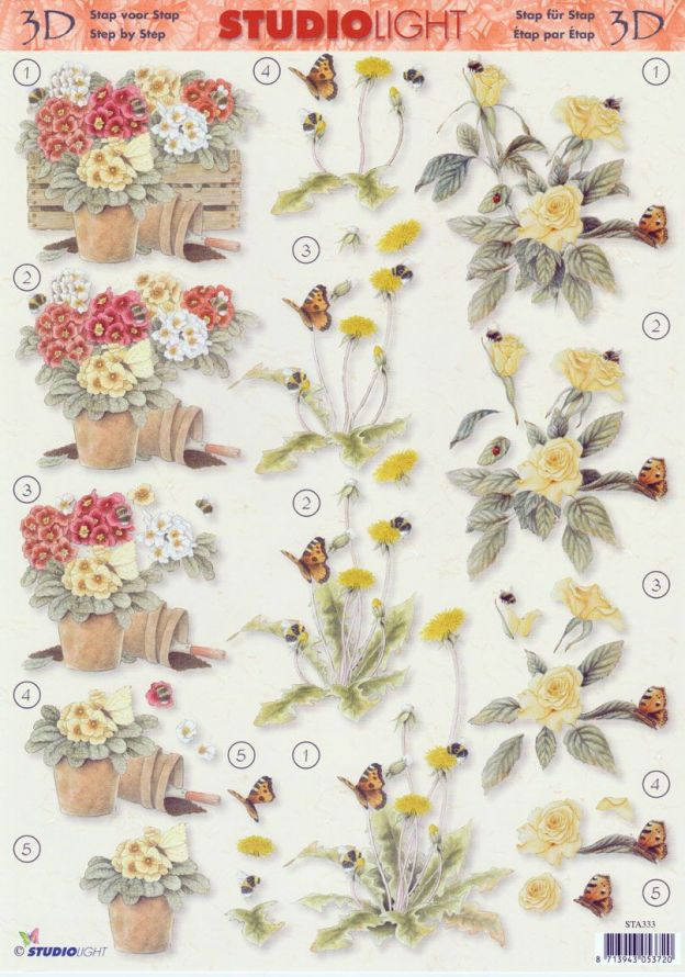 Butterfly - Flowers - 3DA4 Step by Step Decoupage Sheet