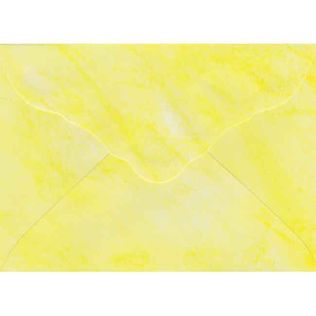 10 Luxery Envelopes - Yellow - Marbleized - 19x13,5cm