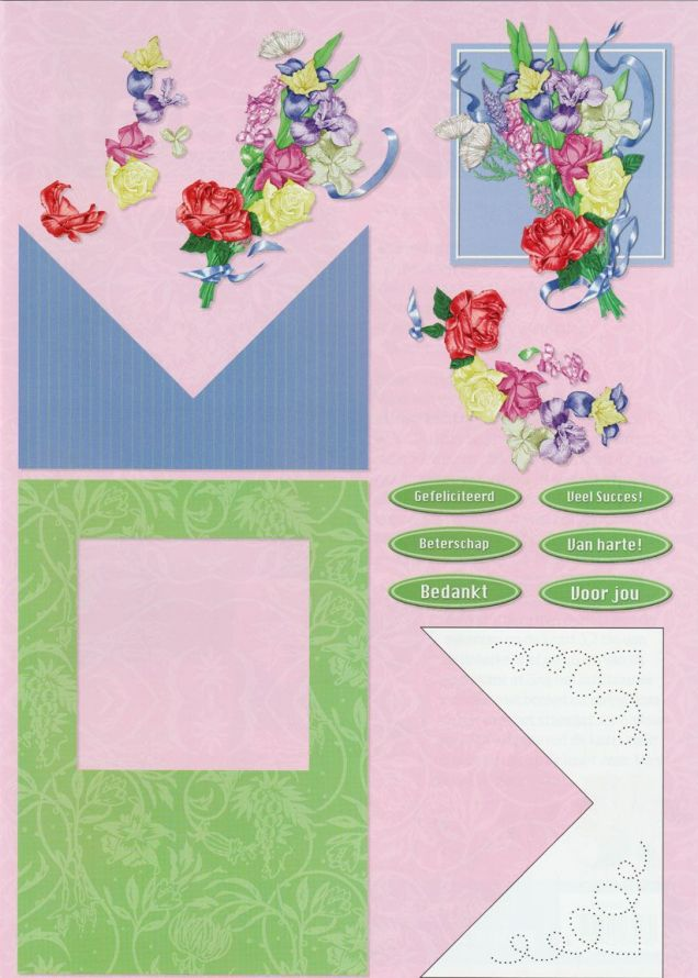 Flowers - Dutch - 3DA4 Step by Step Decoupage Sheet