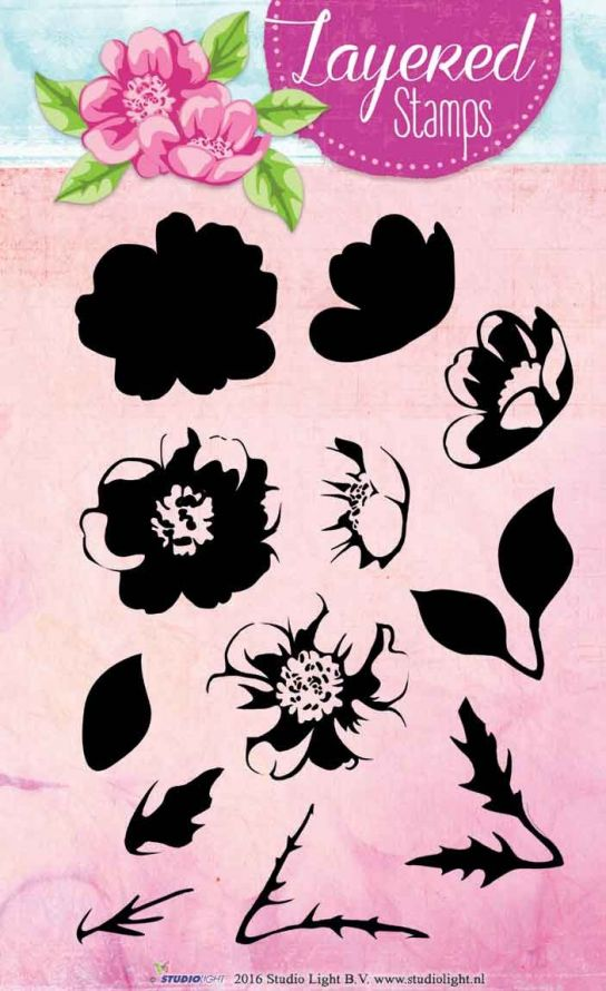 Flower - Layered Clear Stamp - A6 Size