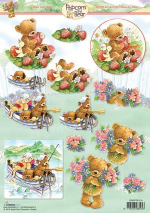 Popcorn the Bear - 3DA4 Step by Step Decoupage Sheet