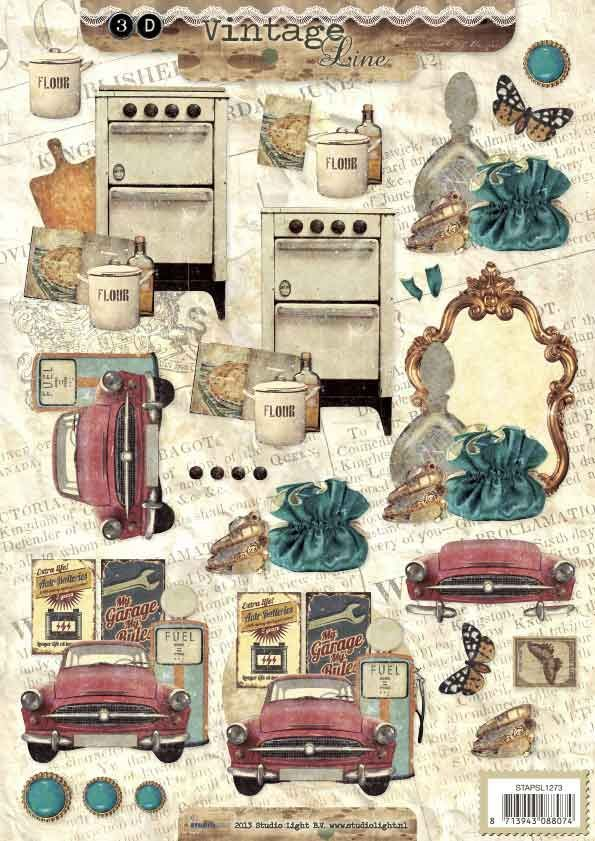 Vintage - 3DA4 Step by Step Decoupage Sheet