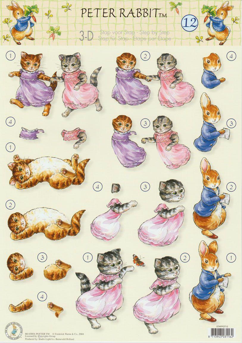 Beatrix Potter , Peter Rabbit , 3DA4 Step by Step Decoupage