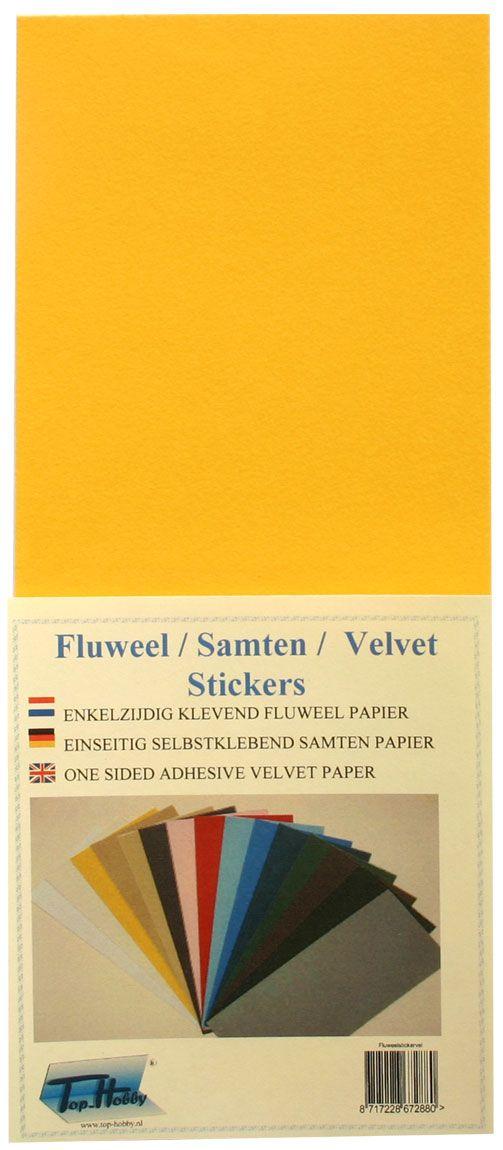 Fluweel stickervel geel 10 x 23cm - Geel fluweel ...