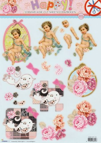Happy - 3DA4 Step by Step Die-cut Sheet