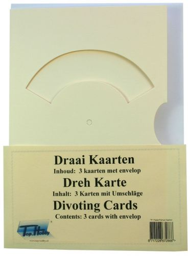 Divoting Cards Bags - Cream - 3 Cards, enveloppes and split pins